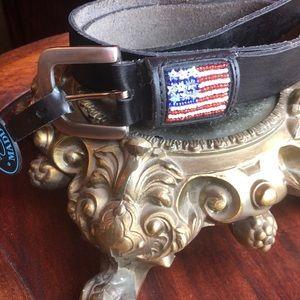 New Steve Madden black leather belt USA flag sz M